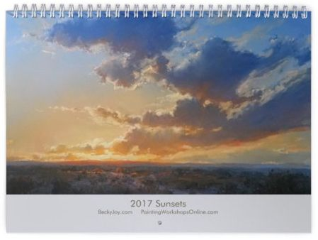 13 Glowing, impressionist oil paintings of skies, sunsets and moonlit images for each month - 2017 Sunset Calendar - Becky Joy Fine Art