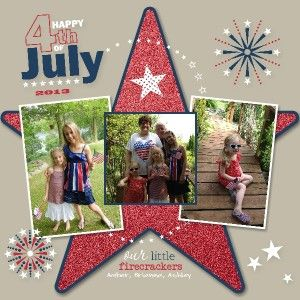 """Sweet """"July 4th."""" Scrapbooking Page...created by Sue Lehrer, SU Demonstrator, with My Digital Studio software from Stampin' Up! Still Stamping With Sue."""
