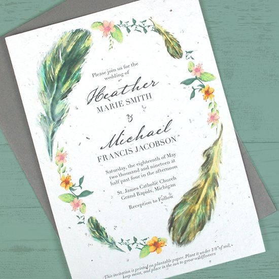 Boho Feathers Seed Paper Wedding Invitations Wedding Paper