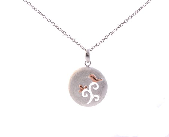Sterling Silver Bird on Branch Disk Pendant Necklace 18''