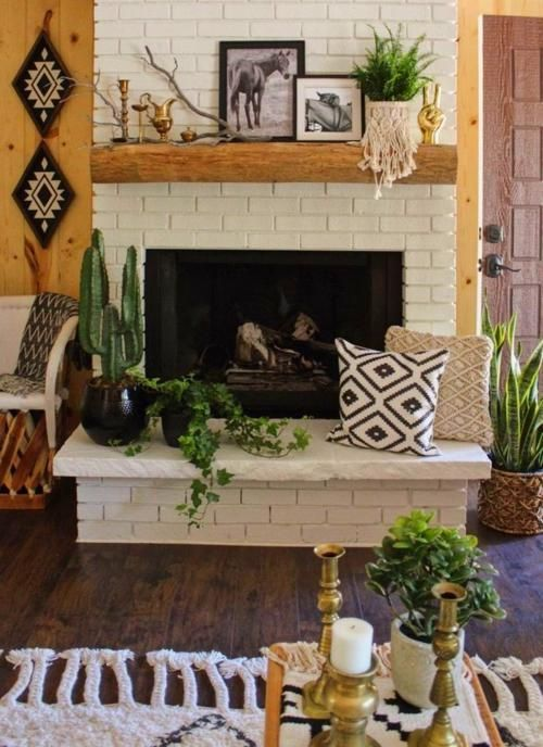Mantle Decor In 2020 Painted Brick Fireplaces Brick Fireplace Mantles Brick Fireplace Decor