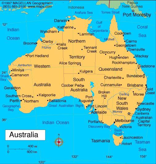 Map Of Australia Capital Est Canberra Languages - Australia on world map
