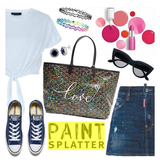 """""""Без названия #738"""" by nastenkakot ❤ liked on Polyvore featuring Dsquared2, New Look, Converse, Clinique, Goyard, Accessorize, BERRICLE and paintsplatter"""