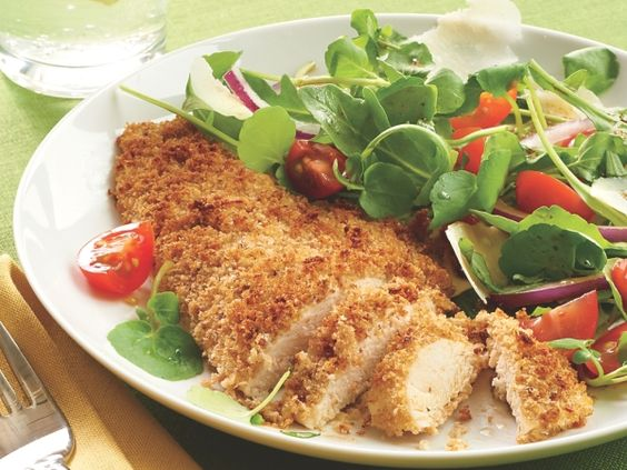 Parmesan-Crusted Chicken and Garden Greens http://www.prevention.com/food/healthy-recipes/30-minute-not-boring-chicken-recipes/slide/9
