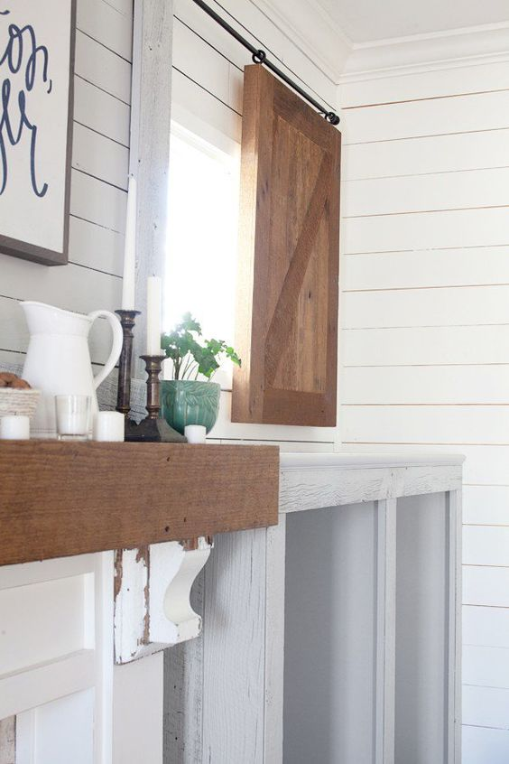 Sliding barn shutter the lettered cottage farmhouse for Farmhouse kitchen window treatments