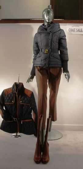 In the window: Coats by T Tahari and Vince Camuto; boots by Sofft—Pre-Holiday Coat Sale