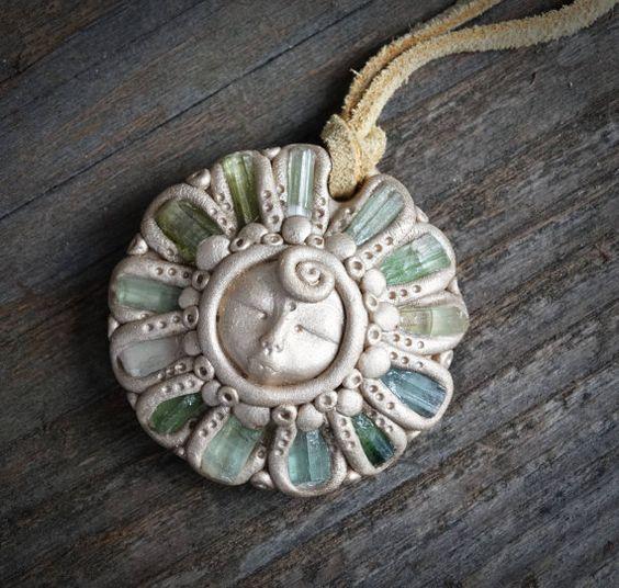 Green Tourmaline Goddess Pendant