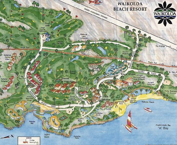 This Is A Map Of The Waikoloa Resort It Shows All The