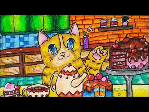 Cara Menggambar Dan Mewarnai Kucing Dan Kue Cake Dengan Gradasi