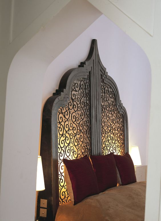 Marrakesh light added to back of headboard Add small stencil cut outs / carving to Indonesian Bed ????