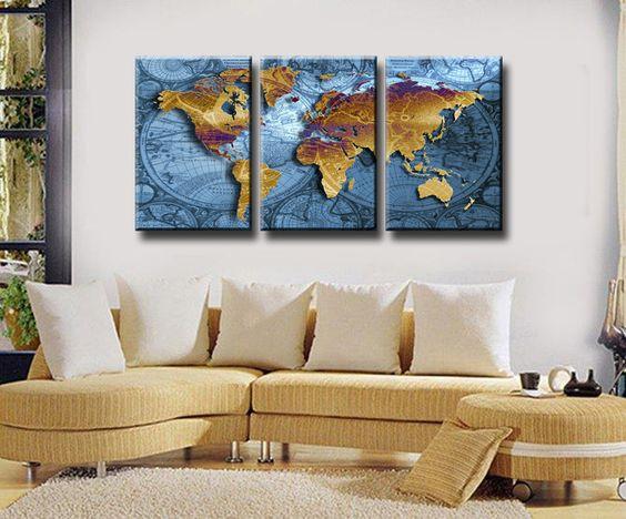 Gouden kaart van de wereld in het blauw, 3 panelen/set grote hd canvas schilderij kunstwerk, kunst aan de in van op Aliexpress.com