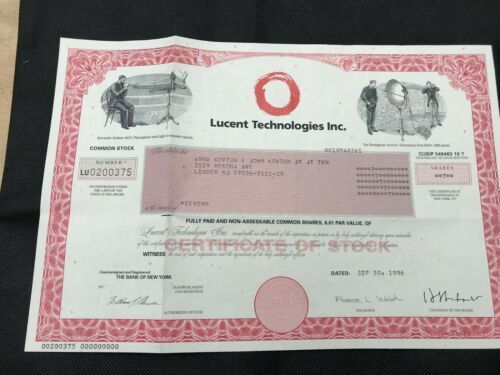 Collecters Item Lucent Technologies Stock Certificate 1996 7 Shares Stock Certificates Finance Financial Instrument