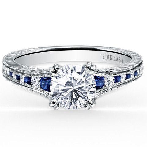 Kirk Kara Stella Blue Sapphire Channel Set Diamond Engagement