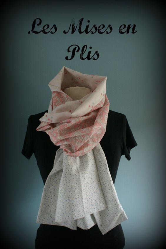Etole  foulard  écharpe cheich Liberty pink and grey