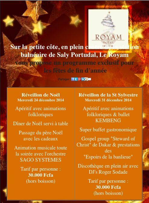 Newsletter fêtes de fin d'année à l'hôtel Royam de Saly Sénégal (novembre 2014)