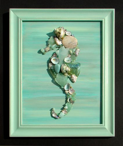 "Seahorse artwork made of sea glass and shells. ""Shell Designs"" is the team of Mary Bromberger Bowles and Kerrie Ostrowski Bromberger. All seashells, seaglass and sea life used to create our art and crafts are genuine, natural and non-endangered."