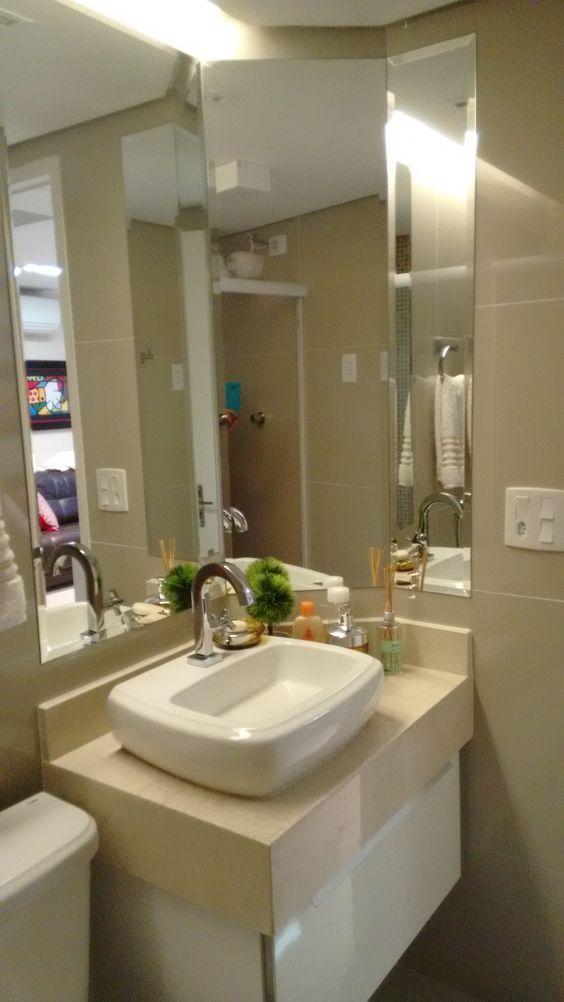 Banheiro social! Bancada em granito Bege Bahia com cuba de apoio! No detalhe, -> Cuba Para Banheiro Em Granito