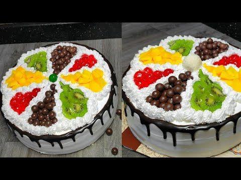 اسهل طريقه لتزيين تورتة كريمة بالفواكه للمبتدئين Youtube Desserts Food Cake