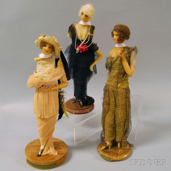 *  Wax Fashion Dolls Lafitte-Désirat France, 1913-22, the standing figures with molded wax heads, necks, and arms, and model fashions and accessories from summer and winter, 1913, 1914, and 1922.
