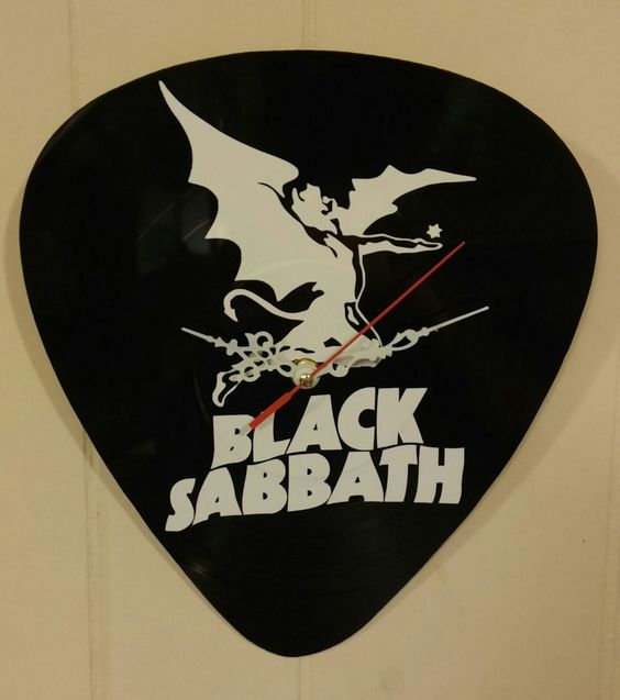 "Black Sabbath Clock Art Made From A Real 12"" Record Album"