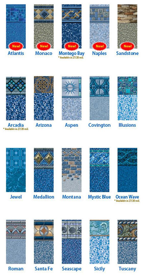 Vinyl pool liners pictures here are tara patterns for Pool liner designs