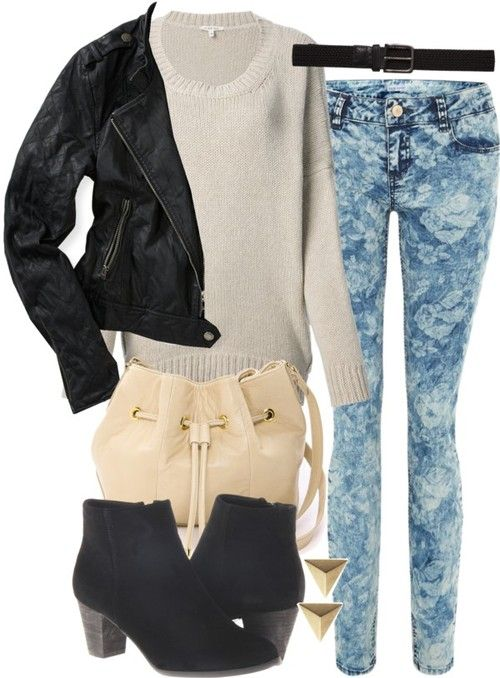 Black and white color block skinny jeans