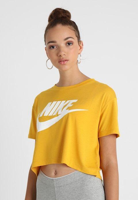 CROP T Shirt Imprimé gelb ocker weiß @ ZALANDO.FR