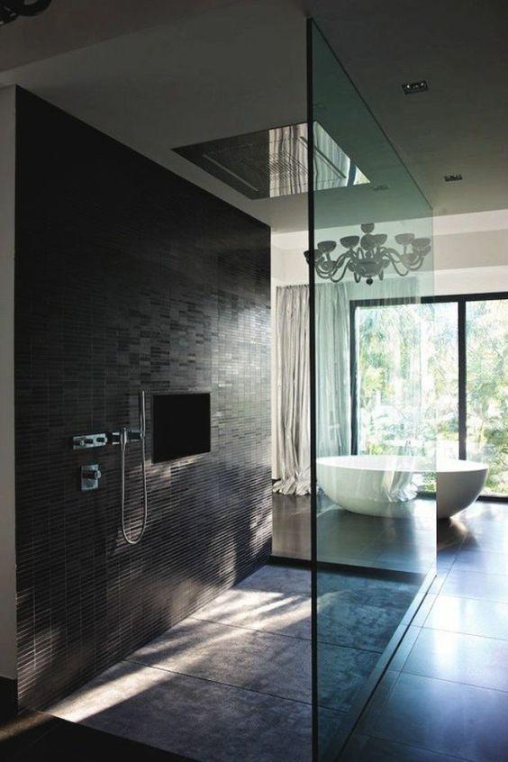magnifique salle de bain avec douche italienne carrelage gris et noir salle de bain - Salle De Bain Douche Italienne Grise
