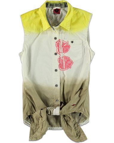 Rags Industry Blouse dip dye groen - Rags Industry blouse mouwloos dip dye €39,95