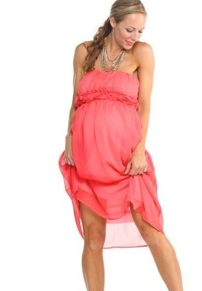 Coral, Strapless, Chiffon Bridesmaid Dress - for the Maternity ...