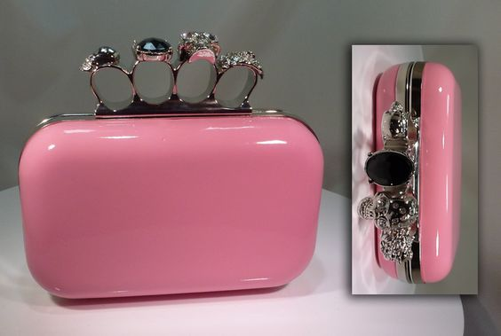 Glitz 'n' Gifts Patent Leather Faced Clutch Bag - Baby Pink