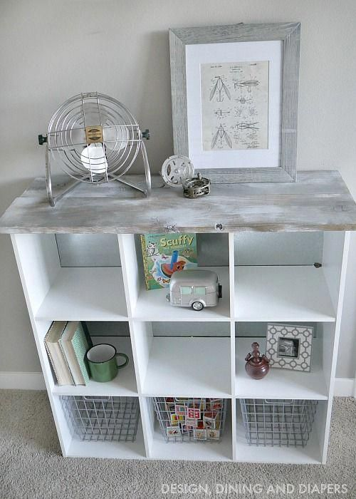 Cube Storage Makeover With Wood On Top Tophomeinteriors Diy