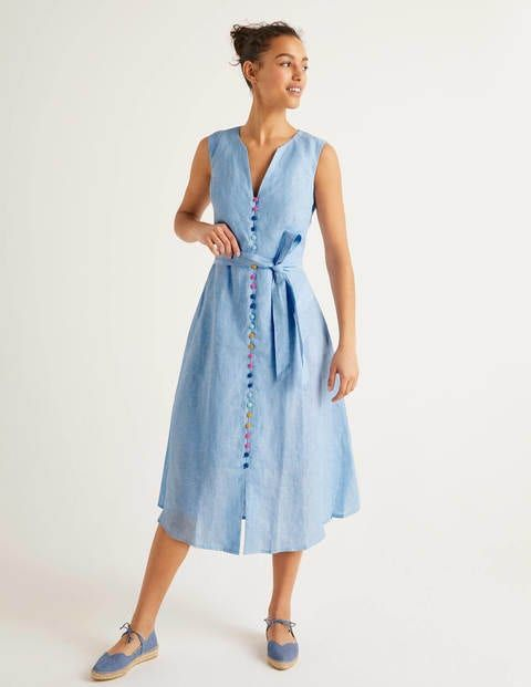 Cecilia Linen Dress Chambray Cecilia Linen Dress This Pure Linen Dress Lined In Cotton Is Luxuriously Lightweight And Fl In 2020 Linen Dress A Line Dress Dresses