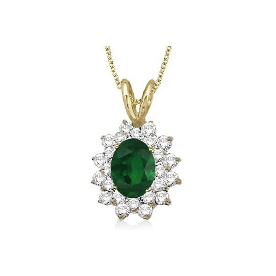 Allurez Emerald & Diamond Accented Pendant 14k Yellow Gold (1.60ctw) ($1,510) ❤ liked on Polyvore featuring jewelry, pendants, yellow gold pendant necklace, 14k gold jewelry, charm pendant, round gold pendant and flower pendant