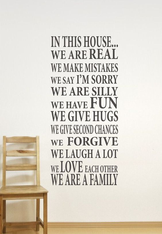 In This HouseWe are Family Vinyl Lettering by JustTheFrosting. $40.00 USD, via Etsy.