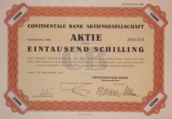 "TOP: Druckfrisch-Aktie ""CONTINENTALE BANK AG"". 1.000 Schilling, Wien 1958"