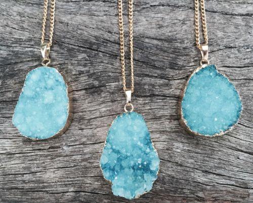 Handmade-Womens-Gold-Plated-Raw-Blue-Quartz-Druzy-Slice-Long-Boho-Necklace