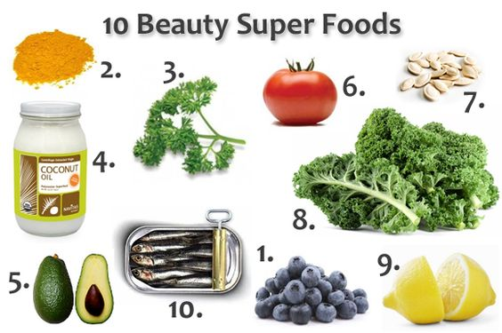 1. Blueberries: prevent aging by neutralizing free radicals & boosts immune system.    2. Turmeric: digestive aid, natural liver detoxifier and potent natural anti-inflammatory (great for acne).    3. Parsley: contains antioxidants, digestion remedy, cleanses liver of toxins.    4. Coconut oil: split-end repair, stretch mark prevention.    5. Avocado: contains antioxidants, promotes good heart health, natural oil keeps skin looking youthful.    6. Tomatoes: contains lycopene (rejuvenating…
