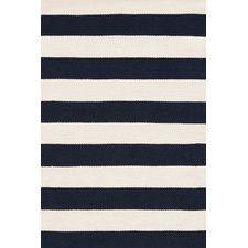 Catamaran Ivory & Navy Blue Striped Indoor/Outdoor Area Rug