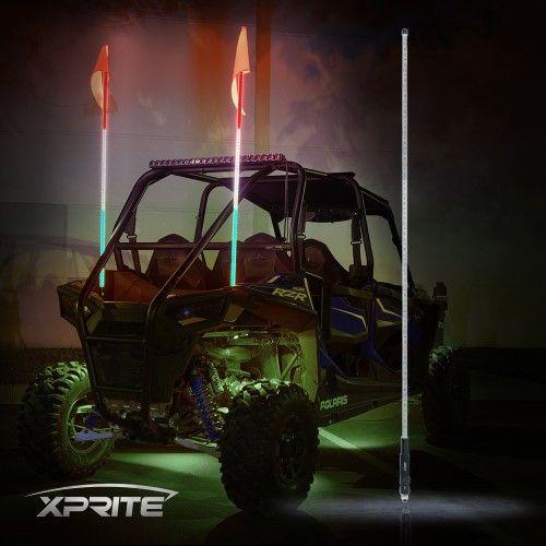 Xprite 5ft Rwg Led Flag Pole Safety Antenna Whip Lights For Sand Brown Dune Buggy Utv Atv 4x4 Truck Jeep Dune Buggy Flag Pole Jeep Lights