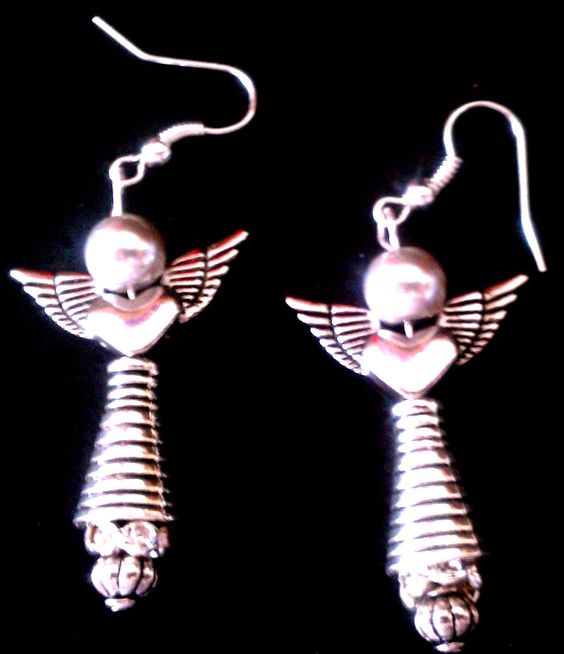 These awesome and beautiful angel earrings will make you sparkle and shine as you wear them and you will feel the power of the angels. They measure just under 1 3/4 inches in overall length and have a fishhook for pierce earrings. They are super light and will not pull on your earlobes and cause ...