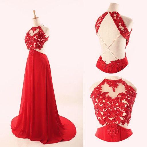 red lace backless prom dress, #promdresses, #promdress2016, #redpromdresses