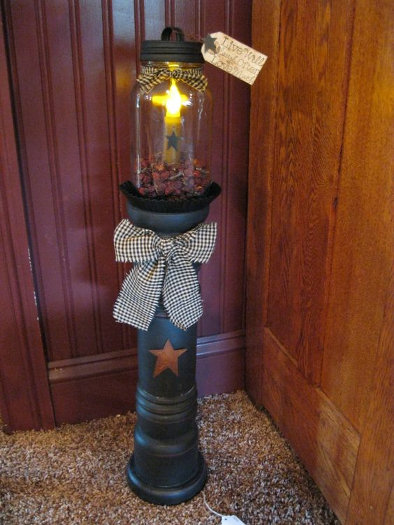 primitive country decorating ideas mason jar tower