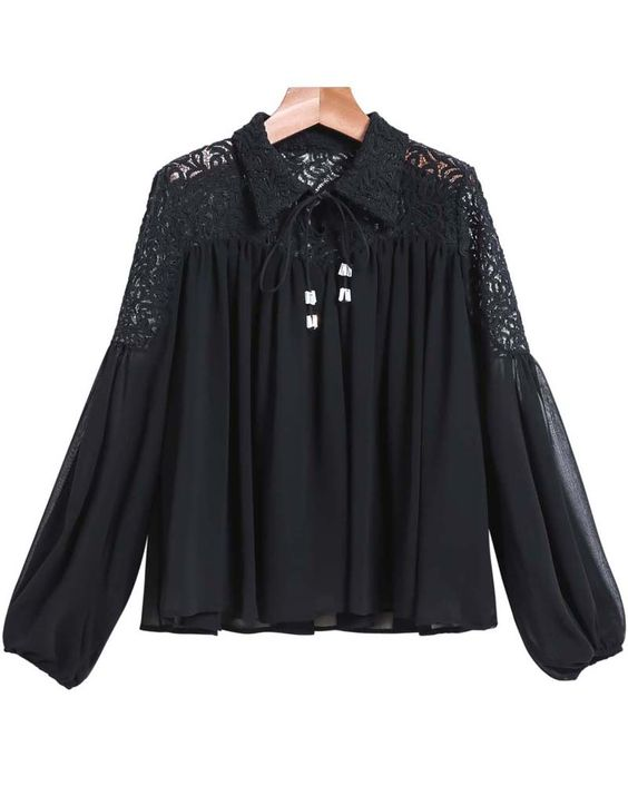 Black Lapel Contrast Lace Loose Blouse 25.83