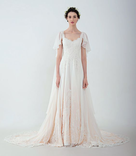 """Anny Lin Bridal """"Briana"""" French lace on silk chiffon with delicate beadwork. :"""