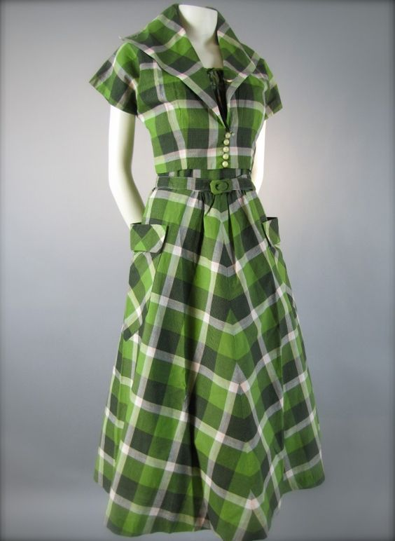 green plaid 40s dress