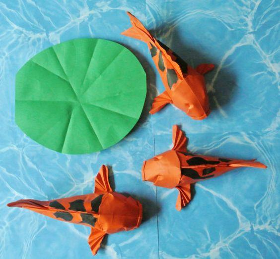 Colorful origami hi utsuri orange and black koi goldfish for Black koi carp