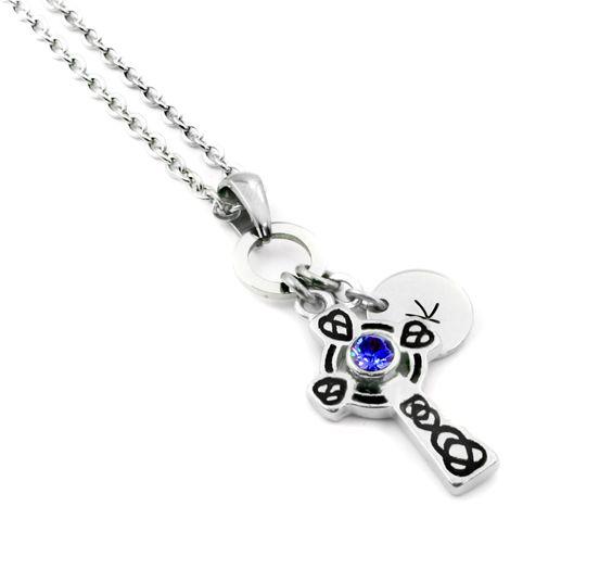 Celtic Cross Birthstone Necklace