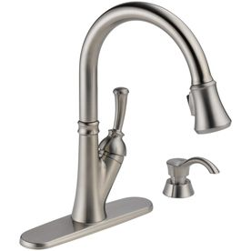 Delta Savile Stainless  Handle Pull Down Sink Mount Kitchen Faucet