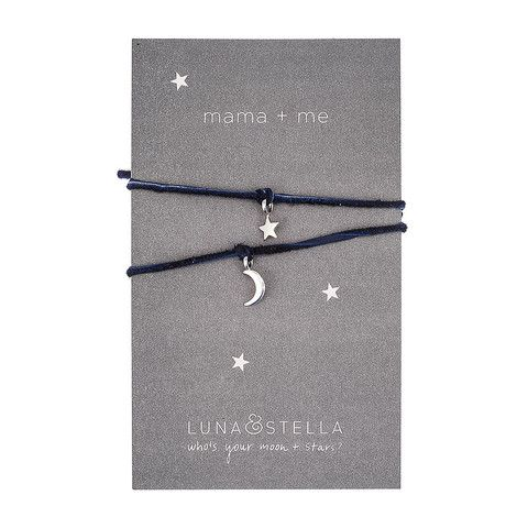 """Remember those """"best friends"""" necklaces where each friend wore half a heart? Our tiny moon + star charm bracelets are a Luna & Stella take on that concept -"""